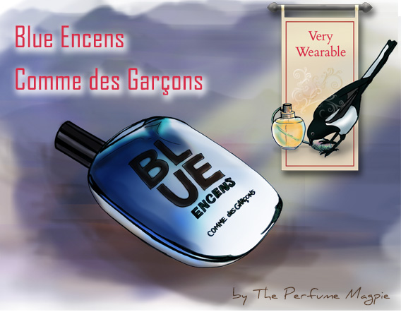Blue Encens by Comme des Garçons | Illustration by The Perfume Magpie