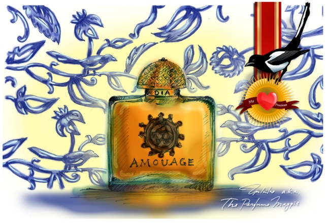 Amouage Dia | Illustration by The Perfume Magpie