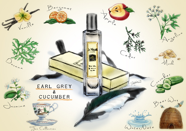 Earl Grey & Cucumber by Jo Malone | Illustration by The Perfume Magpie