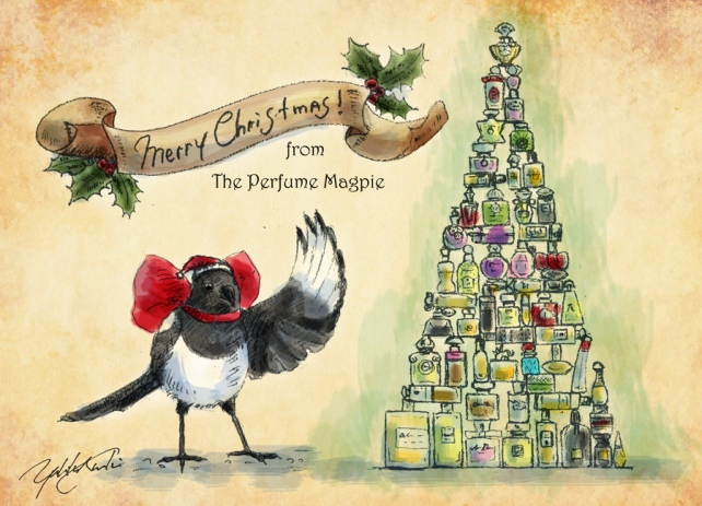 Merry Christmas from The Perfume Magpie | Illustration by The Perfume Magpie